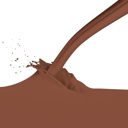 chocolate milk splash isolated on white photo