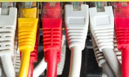 isp: close up of network cables connected to switch