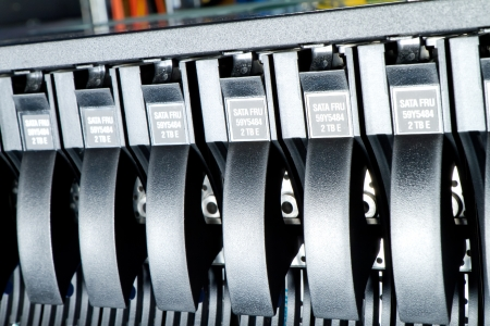 detail of data center with hard drives Stock Photo - 23178745