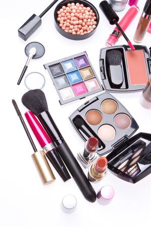 makeup set isolated on white background photo