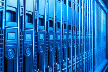 storage room: hardware in internet data center room Stock Photo