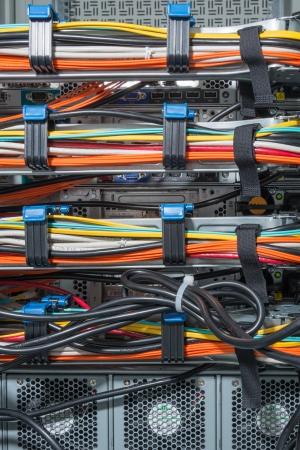 server side: closeup of data center hardware - rear side of storage server Stock Photo