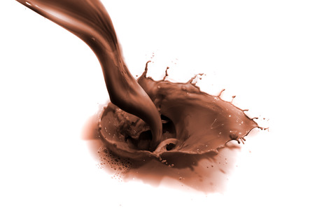 chocolate background: pouring chocolate drink, isolated on white background Stock Photo