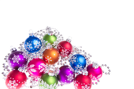 christmas balls with tinsel isolated on white  photo
