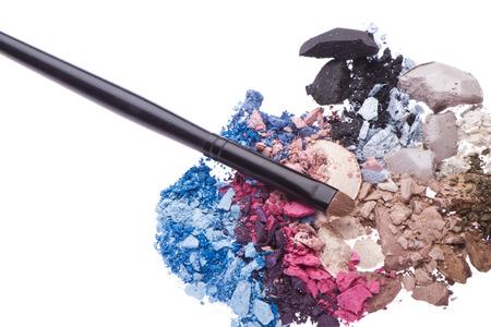 set of multicolor crushed eyeshadows isolated on white background Stock Photo - 25971876