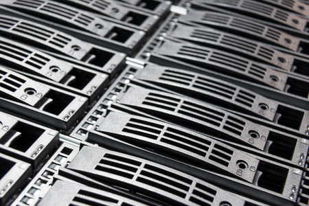 close-up of hard drives in data center Stock Photo - 26868059