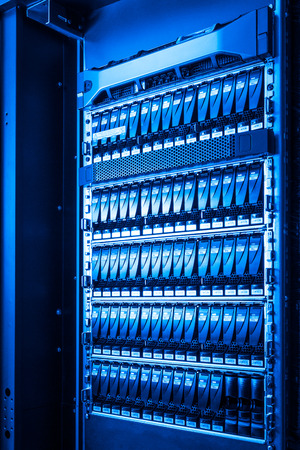 close-up of hard drives in data center photo