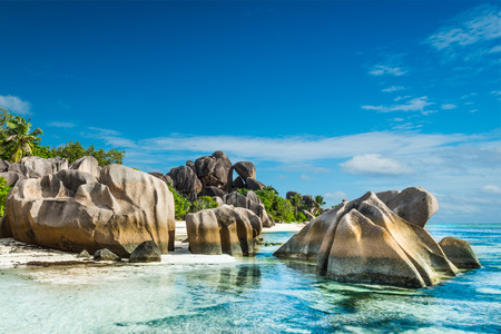 d'argent: Anse Sous dArgent beach with granite boulders and turquoise sea Stock Photo