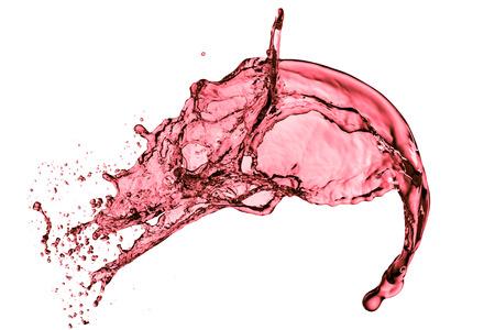 赤ワイン スプラッシュ、白い背景で隔離 写真素材