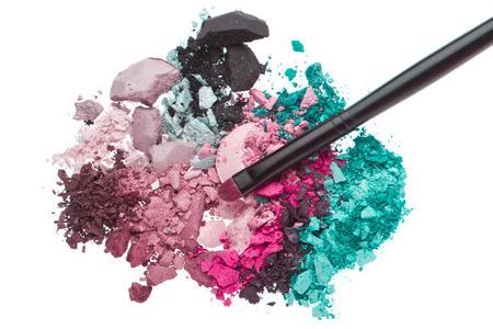 eyemakeup: set of multicolor crushed eyeshadows isolated on white background Stock Photo