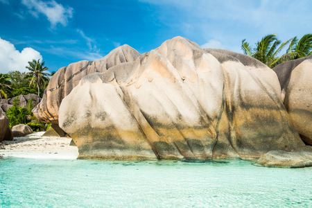 Anse Sous dArgent beach with granite boulders and turquoise sea photo
