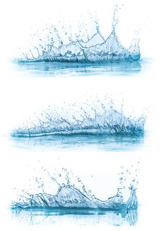 water splash: colecci�n salpicaduras de agua aislado en el fondo blanco