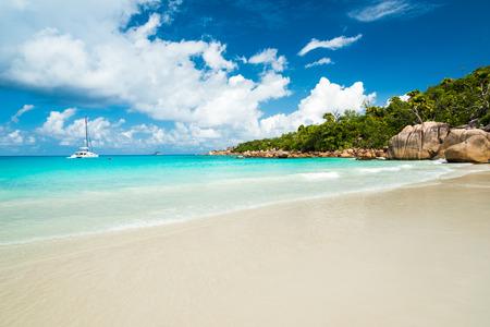 lazio: Anse Lazio beach in Praslin island, Seychelles Stock Photo