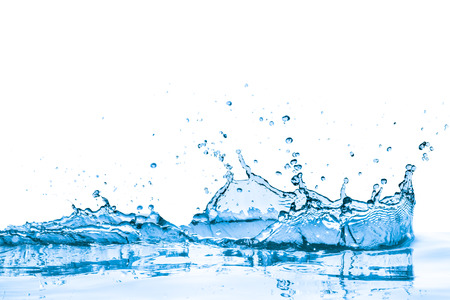 splashing blue water on white background photo