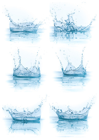 flowing: water splash collection isolated on white background