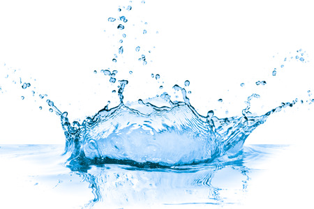 splashing blue water on white background