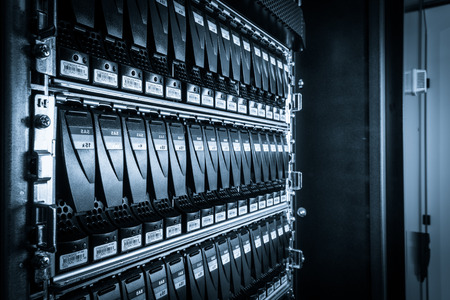 secure backup: close-up of hard drives in data center Stock Photo