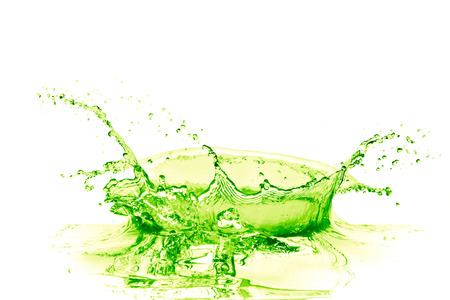 green water: lime drink splash on white background