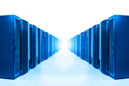 strong light: row of server racks with strong light from the end Stock Photo