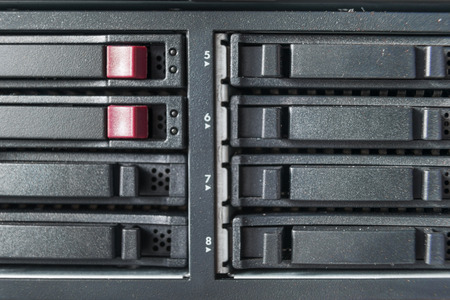 webserver: close-up of hard drives in data center Stock Photo