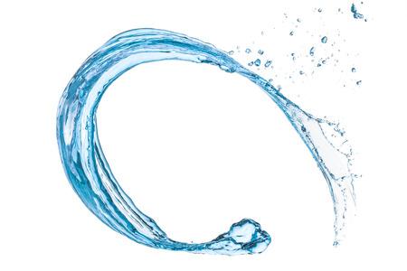 splash de agua: salpicaduras de agua azul sobre fondo blanco aisladas