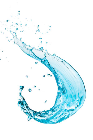 flowing water: turquoise water splash isolated on white background Stock Photo