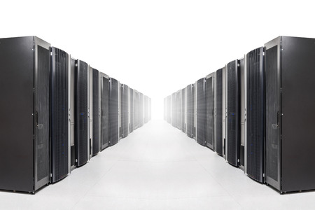 advanced computing: row of server racks with strong light from the end Stock Photo