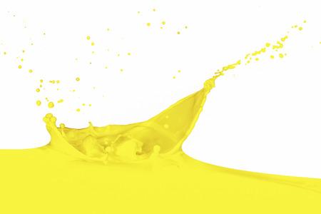 yellow paint: yellow paint splashing isolated on white Stock Photo