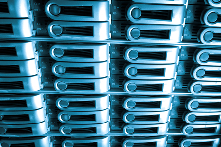 webserver: detail of data center with hard drives