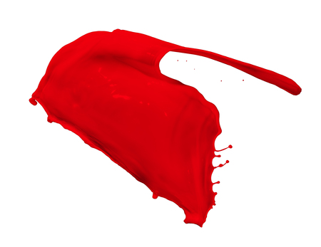spurt: red paint splash isolated on white background
