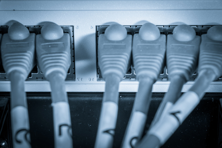 ethernet: close-up of network hub and ethernet cables Stock Photo