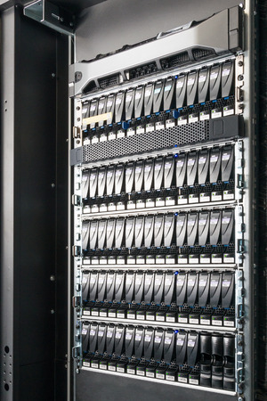 close-up of hard drives in data center Stok Fotoğraf