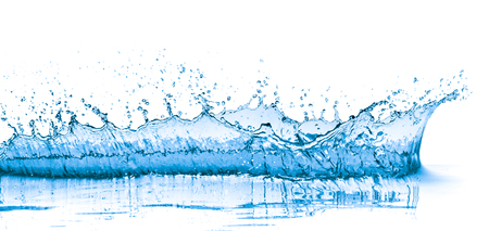 splashing blue water on white background Stok Fotoğraf - 90704642