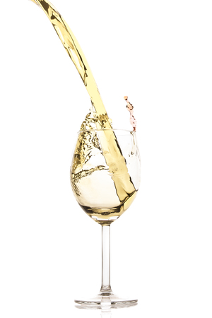 white wine splash isolated on white Banco de Imagens