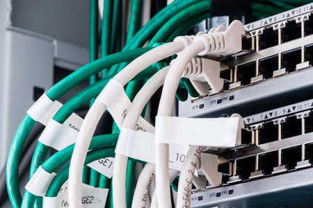 colorful patch cables connected to switch - high speed internet concept Stok Fotoğraf