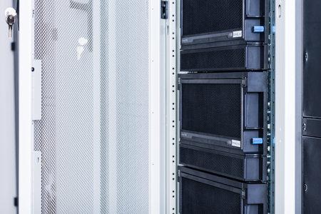 Data center with a row of server racks