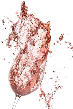 rose wine splashing on white background Stok Fotoğraf