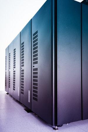 server racks inside datacenter of internet service provider