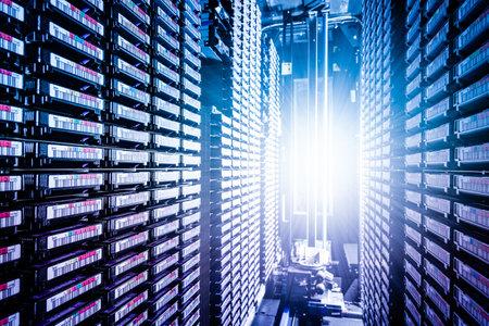 rows of data cloud hardware inside data center