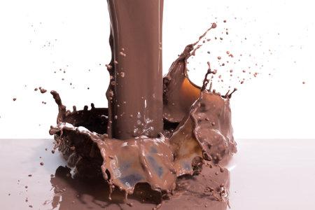 splashing hot chocolate, isolated on white background Stok Fotoğraf