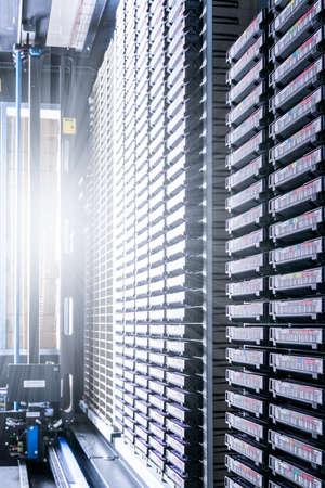 data cloud tapes inside data center racks