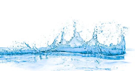 splashing blue water on white background Stockfoto