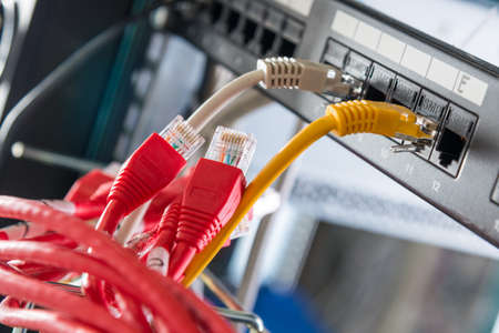 Red patch cables to be connected to ethernet ports of the switch