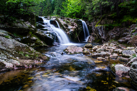 rocks water: Waterfall Giant Mountains Stock Photo