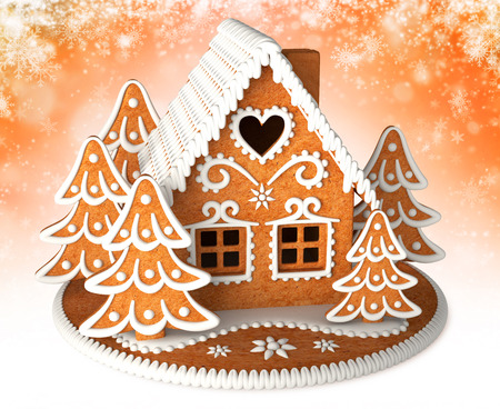 3d render of gingerbread house