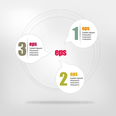 Connected circle speech diagram Infographic  Vector