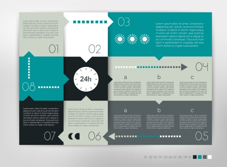 progression: 24 hour modern design speech  diagram for infographic. numbered banners template in cold colors.
