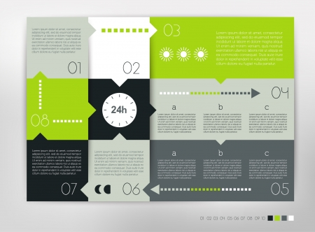 24 hour modern design speech  diagram for infographic. numbered banners template in cold colors. Vector