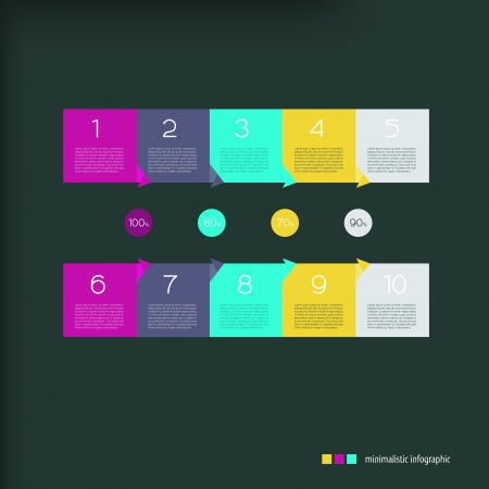 paper progress steps for tutorial. Can be used for infographics panel. Color paper stickers with numbers. Vector