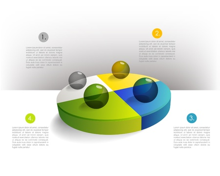 Presentation template circle graph with a 3D glass balls  Pie chart diagram  Infographics web elements
